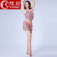 Vonsu New Sexy Slimming Oriental Dance Beginner Belly Dance Exercise Clothing Women's Short Skirt Set Summer