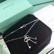 Tiffany 迷你三鑰匙項鍊 精緻小巧S925純銀鑰匙款項鏈 Tiffany項鏈 日常百搭氣質鎖骨項鏈