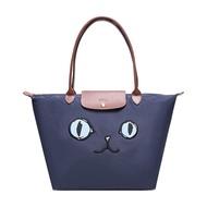 限時3折up|LONGCHAMP 1899 女士貓咪圖案 手提單肩包(海軍藍色)【LiDu代購】|最高再折700↘情人節寵愛禮