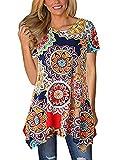 Womens 3 4 Sleeve Ethnic Printed Casual Midi Dress