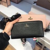 英國代購 Vivienne Westwood 女士小牛皮L型拉鏈長款錢包拉鏈夾長夾皮夾 黑 粉