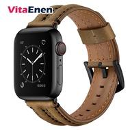 VitaEnen Apple Watch Cowhide Double Keel Strapเข้ากันได้กับApple Watch 38mm 42Mm 40Mm 44MmGenuine Leather Strap Series SE/6/5/4/3/2/1Menและผู้หญิงนาฬิกาหนังวัวสายหนังชั้นหนึ่ง