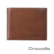 【Crocodile】鱷魚皮件 真皮短夾 Natural系列 5卡 零錢袋 男夾 0103-58072-咖啡色(Natural系列)
