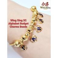 Wing Sing 916 Gold 2C Pandora Alphabet Charm Beads Pendant / Loket Huruf PDR A to Z Emas 916
