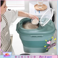Foldable 25 Kg Rice Bucket Household Rice Bucket Insect-Proof And Moisture-Proof Rice Flour Storage Box25Kg Rice Container Foldable Double Sealing Ring Pp Household Flour Storage Holder For Kitchen