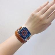 ใหม่ใช้ Iwatch6-SE สายคล้อง Hermes สีขาวหนังคู่หญิง Apple Applewatch5-4นุ่ม