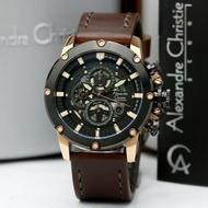 Jam Tangan Kulit Pria Alexandre Christie AC6416 / AC 6416 Black Rose Gold Original
