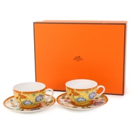 HERMES 花卉咖啡杯/對杯組 (藍橘花卉)