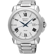 Seiko Premier Roman Solar Gentleman Watch Sne 453 J 1 - Silver/42 mm