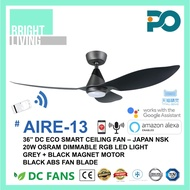 """PO AIRE-13 36/46"""" Smart WIFI-Enabled DC Ceiling Fan with 20W Dimmable RGB LED Light Kit"""