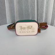 COACH 蔻馳 75907大logo寬背帶小側背包 腰包 (白)附兩條背帶 拼色相機包   美國代購