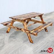 【LOGIS】LOGIS-多用原木庭園桌椅 啤酒桌 戶外桌椅 烤肉桌 BBQ 露營桌