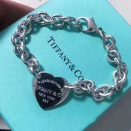 Tiffany 'S 925 Streling Silvert Link Chain สร้อยข้อมือ Return To Tiffany ป้ายห้อยหัวใจสร้อยข้อมือ Tiffany และ Co 1969คลาสสิกสร้อยข้อมือรูปหัวใจ
