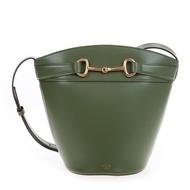 CELINE 新款緞面小牛皮BUCKET CRÉCY肩背/斜背水桶包 (牛油果色)