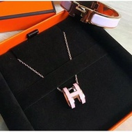 Hermes pop H 愛馬仕橢圓 H logo項鍊 粉紅+ 玫瑰金 專櫃正品