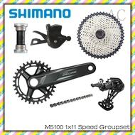 【SHIMANO】 DEORE M5100 Groupset 1x11 Speed MTB M5100 170mm 175mm 32T Crankset M5100 Shifter Rear Derailleur Sunrace CSMS8 11-51T Cassette or Sunshine 11-42T 11-46T Cassette KMC X11 Chain For Mountain Bike