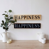 Wooden Plank - Happines (wall Decoration / House Numbers / Plank Home)