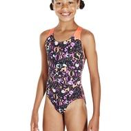 【領券再折$100】SPEEDO 兒童  連身 競技 泳裝   SD807386C206 黑 橘 (胸圍:60~75CM)[陽光樂活]