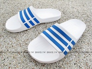 Shoestw【BB3665】ADIDAS DURAMO K SLIDE 拖鞋 一體成型 白藍 大童