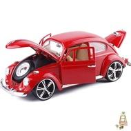 汽車模型美致1:18仿真復古老爺車甲殼蟲合金汽車模型可開門底坐玩具禮盒