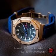 นาฬิกา G-Shock Ap Metal กรอบสแตนเลส RoseGoldสายRubber  Butterfly Navy Blue ของแท้100% ประกันศูนย์1ปี