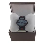 GUCCI Interlocking 時尚高調綠紅綠素腕錶YA133206鐵灰/黑 雙G 42mm