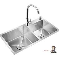 不鏽鋼水槽 洗菜盆水槽雙槽廚房不銹鋼家用洗碗池洗菜池水池加厚手工洗碗槽T