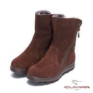 【CUMAR】率性柔美-拉鍊2WAY兩穿翻摺內增高厚底雪靴 - 大地咖