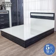 【南亞塑鋼】5尺雙人塑鋼床組(床頭片+床底-鐵刀木色)