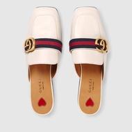 新品 GUCCI logo  mule 方頭 穆勒鞋