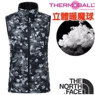 【美國 The North Face】女新款 ThermoBall 極輕量暖魔球防風科技羽絨背心(可機洗)登山/363U 黑百合 N
