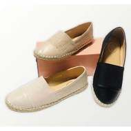 รองเท้าผู้หญิง รองเท้าคัชชู รองเท้าพื้นเตี้ย ผ้าทวิต ทรง chanel สี ดำ กากี ครีม พื้นนิ่ม ใส่สบาย