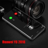 Huawei Y6 2018 Case Flip Electroplate Mirror Phone Case Huawei Y 6 Y62018 2018 Casing Back Cover Stand