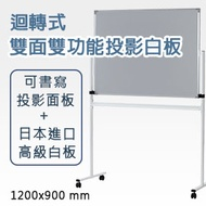 【日本林製作所】迴轉式雙面雙功能投影白板(小型) /投影螢幕/白板架/可書寫/120*90/120x90(特殊寄送地址)(WB-1200)