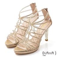 DIANA 10cm星光銀彩葛麗特環踝電鍍高跟涼鞋-浪漫戀曲-金
