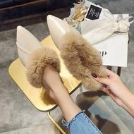 夯貨折扣! 尖頭低跟鞋尖頭毛毛鞋女秋冬新款韓版時尚外穿包頭半拖鞋兔毛穆勒鞋低跟