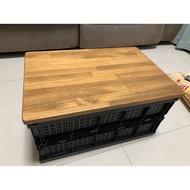 露營折疊籃和木片桌兩用收納箱-二手出清