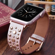 Rivets Band for apple watch Series 6/5/4/3 SE sport loop strap correa i watch 38mm 40mm bracelet apple watch 44/42mm Leather belt