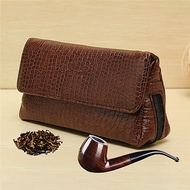 Soft PU Leather Smoking Pipe Case Pouch Tobacco Bag Tamper Filter Tool Cleaner Briefcase Brown Cigarette Storage Holder