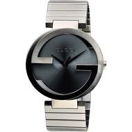 GUCCI 古馳 Interlocking 雙G 時尚元素腕錶-灰x銀/42mm YA133210