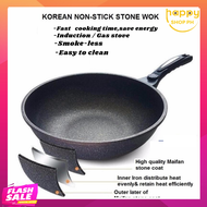 HIGH QUALITY Non-Stick Scratch Resistant Multipurpose Use for Home/Kitchen or Restaurant Maifan Stone Wok Non-stick Pan Maifan Stone Wok Silicone Handle Glass Lid Frying Pan Extreme Maifan Non-Stick Stone Pan Cast Iron NonStick Stone Wok with Lid