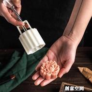 美滌立體蓮花月餅模具荷花冰皮綠豆糕模流心烘焙不粘模型印具家用