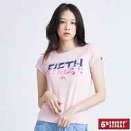 滿額送口罩 | 【5th STREET】女星星撞色LOGO短袖T恤-粉紅