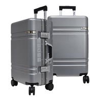 FILA 29吋碳纖維飾紋2代系列鋁框行李箱-月牙銀