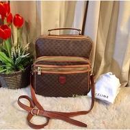 Celine Vintage Macadam Cross Body Bag Authentic 💯%