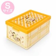 小禮堂 布丁狗 透明蓋折疊收納箱 塑膠收納箱 拿蓋收納箱 玩具箱 雜物箱 (S 黃 斜紋)