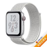 【送充電線+藍牙耳機】Apple Watch Nike+ Series 4 GPS+LTE版44mm 銀色錶殼配雪峰白色運動錶環 MTXJ2TA/A【全新出清品】