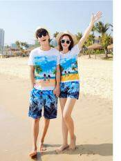 ชุดคู่รัก หวานๆๆน่ารักสุดๆ  ไปเที่ยวทะเล ชาย + หญิง เสื้อยืดสีขาวลายคู่รักสวีทเที่ยวทะเล กางเกงขาสั้นลายต้นมะพร้าวโทนสีฟ้า +พร้อมส่ง+