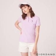 GIORDANO 女裝企鵝刺繡彈力萊卡POLO衫-08 微風紫