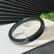 和田玉手鐲60+MM新疆塔青料墨綠復古方條手環附證書生動靈秀柔和